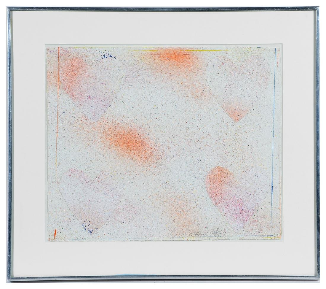 Jim Dine, Dutch Hearts, color lithograph with collage