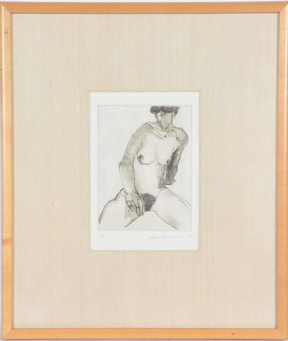 American School, Portrait of a Seated Nude, Etching