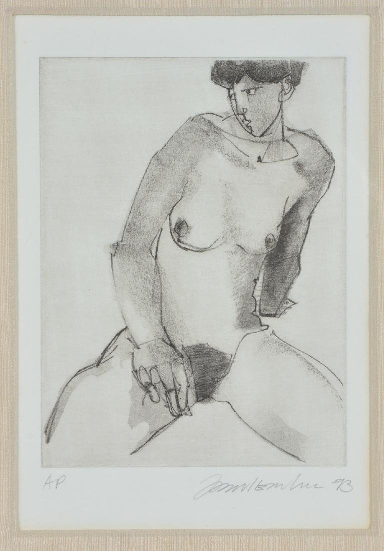 American School, Portrait of a Seated Nude, Etching - 2