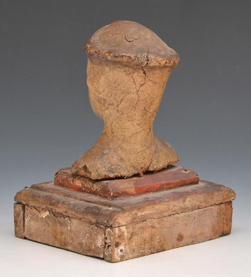 Wooden Santos head with glass eyes on stand - 3