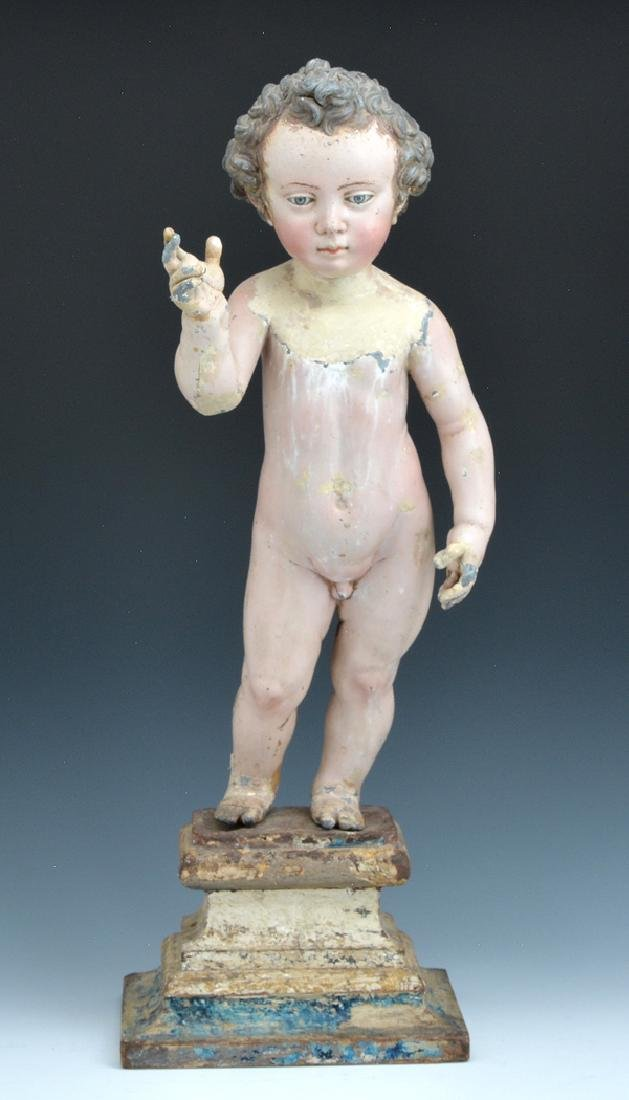 Spanish Colonial painted lead figure of young Christ
