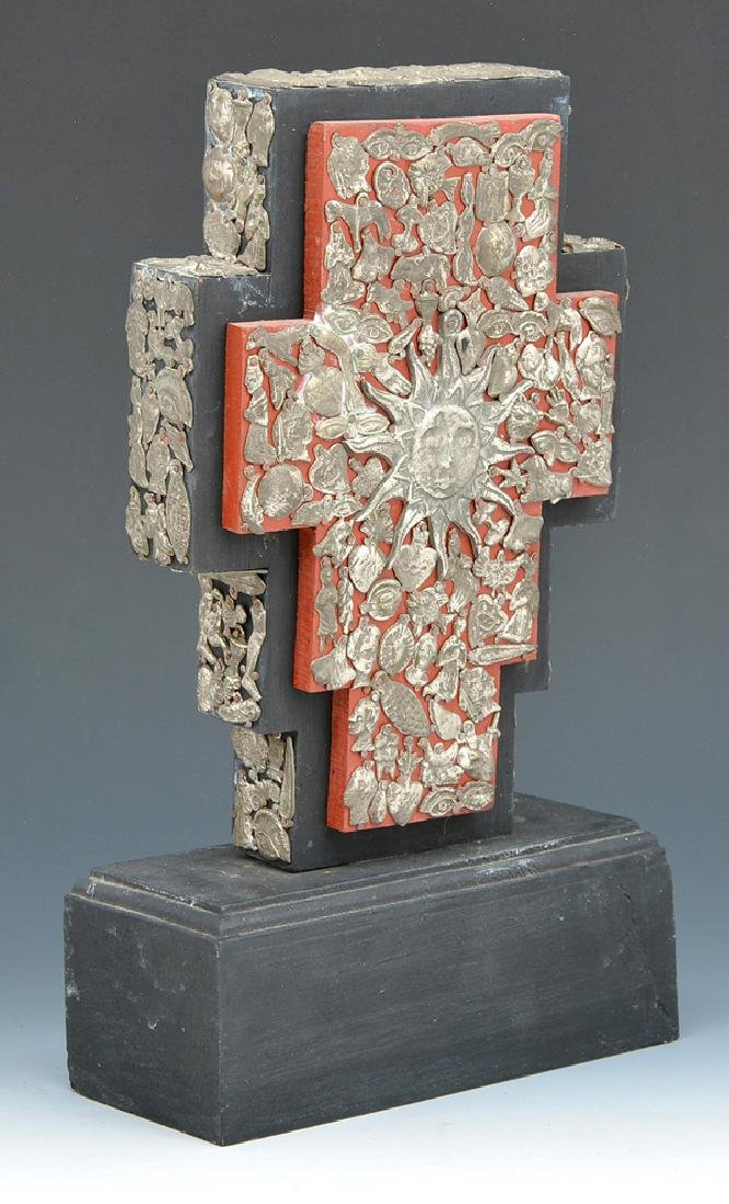 Mexican cross with milagros on stand - 2