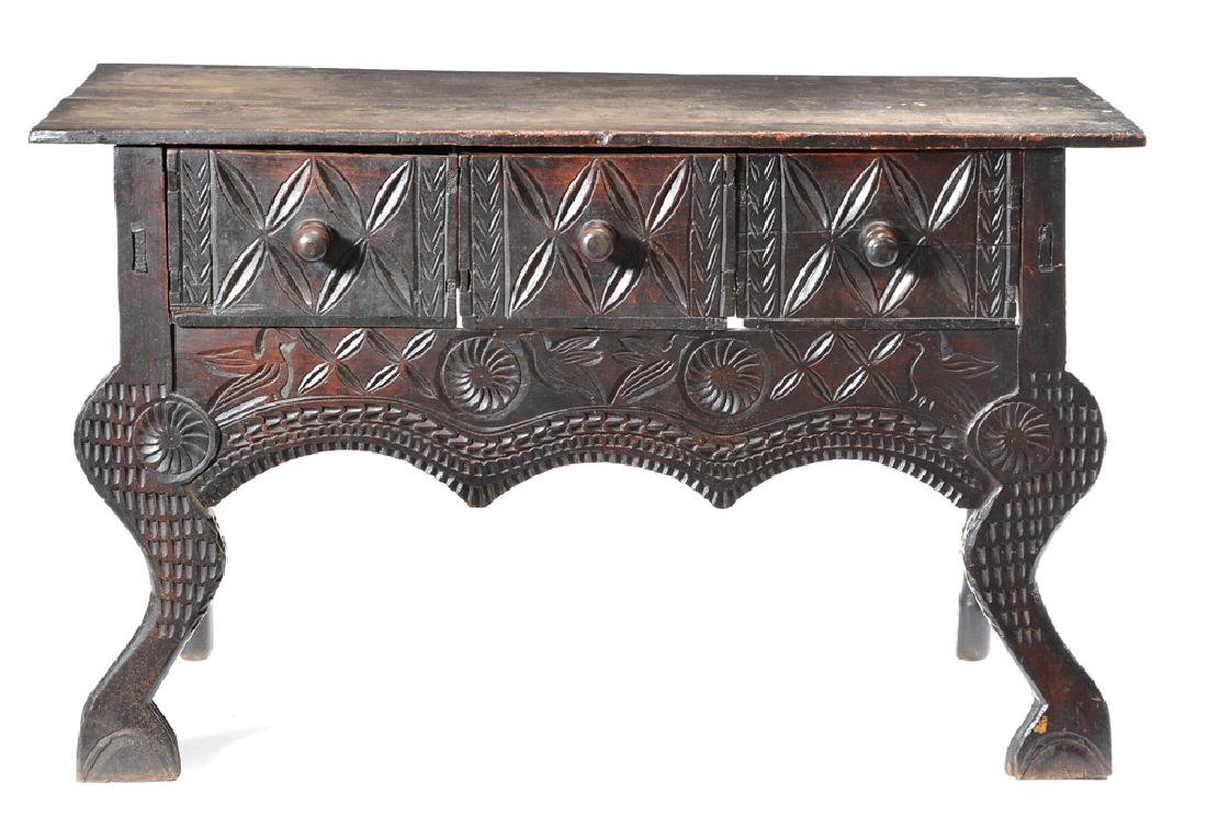 Spanish chip carved side table, 19th c or earlier
