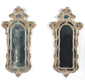 Pair of Northern Italian Rococo Giltwood Mirrors, 18th