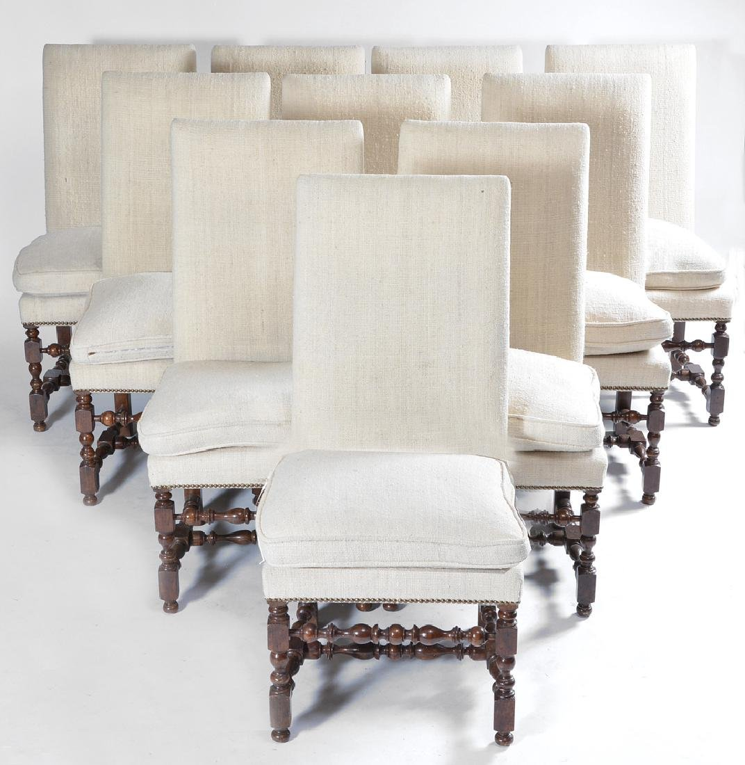 Set of 10 Spanish upholstered oak dining room chairs