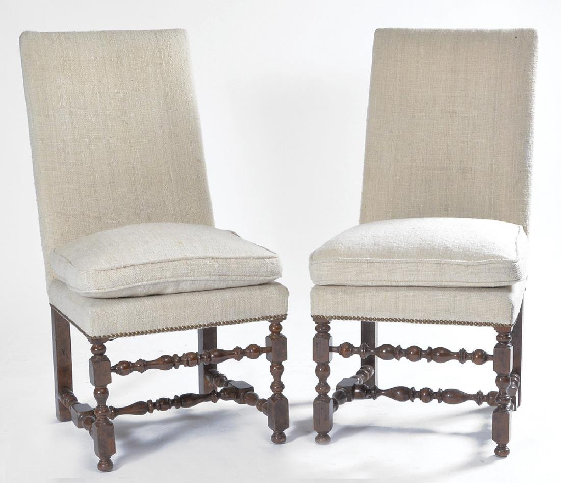 Set of 10 Spanish upholstered oak dining room chairs - 2