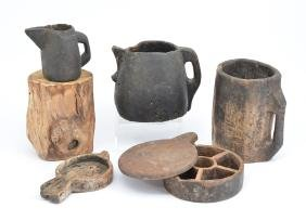 Hand carved wood containers and pitchers