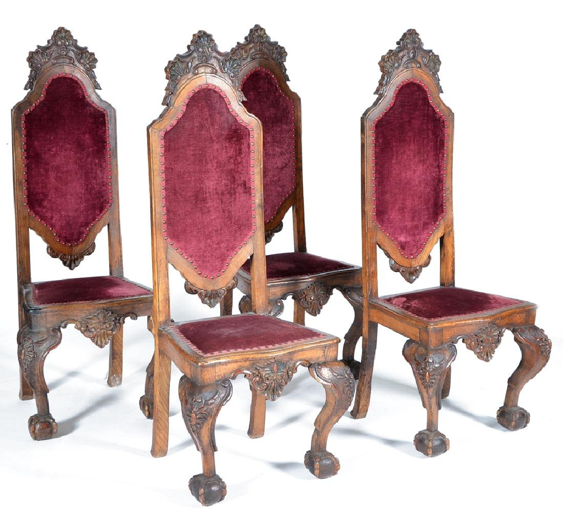 4 Continental oak dining chairs, 19th c