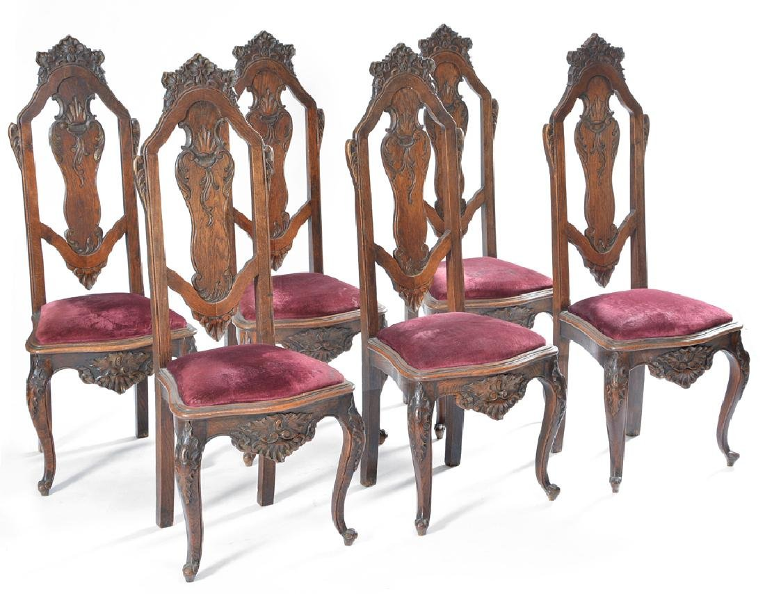 Set of six continental oak dining chairs, 19th c