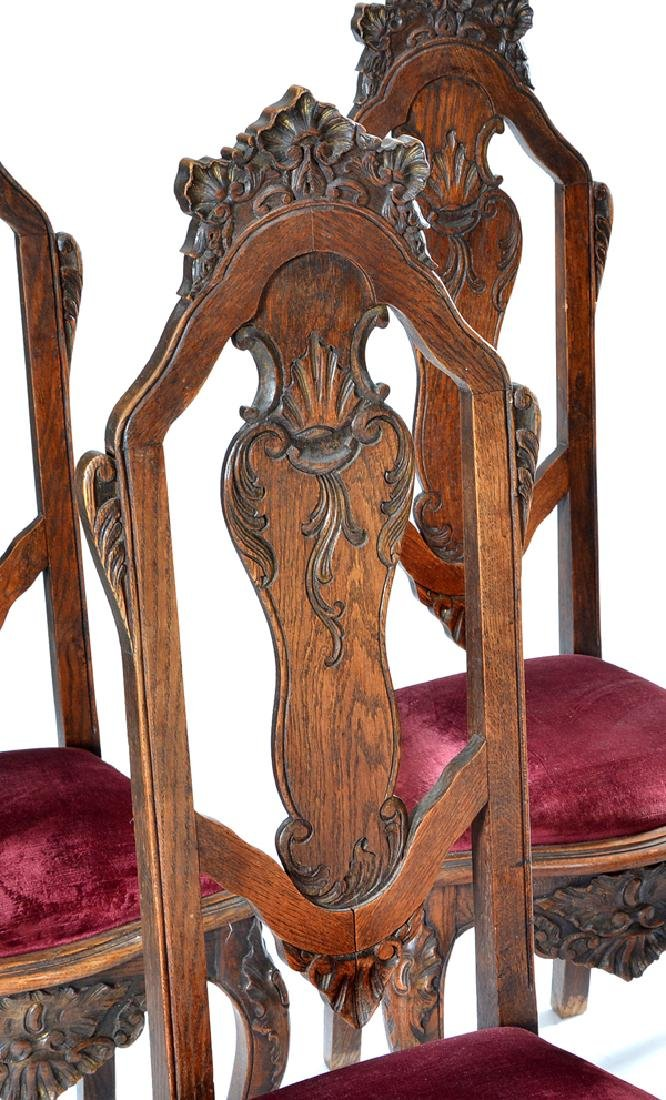 Set of six continental oak dining chairs, 19th c - 2