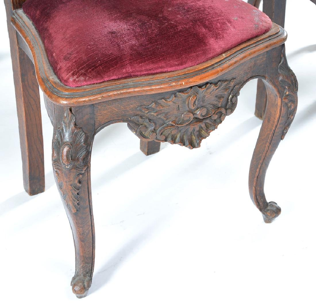 Set of six continental oak dining chairs, 19th c - 3