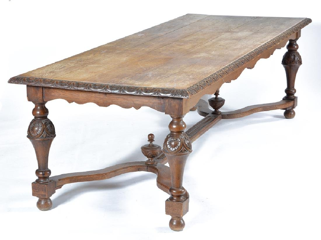 Continental oak Louis XV style dining table, 19th c