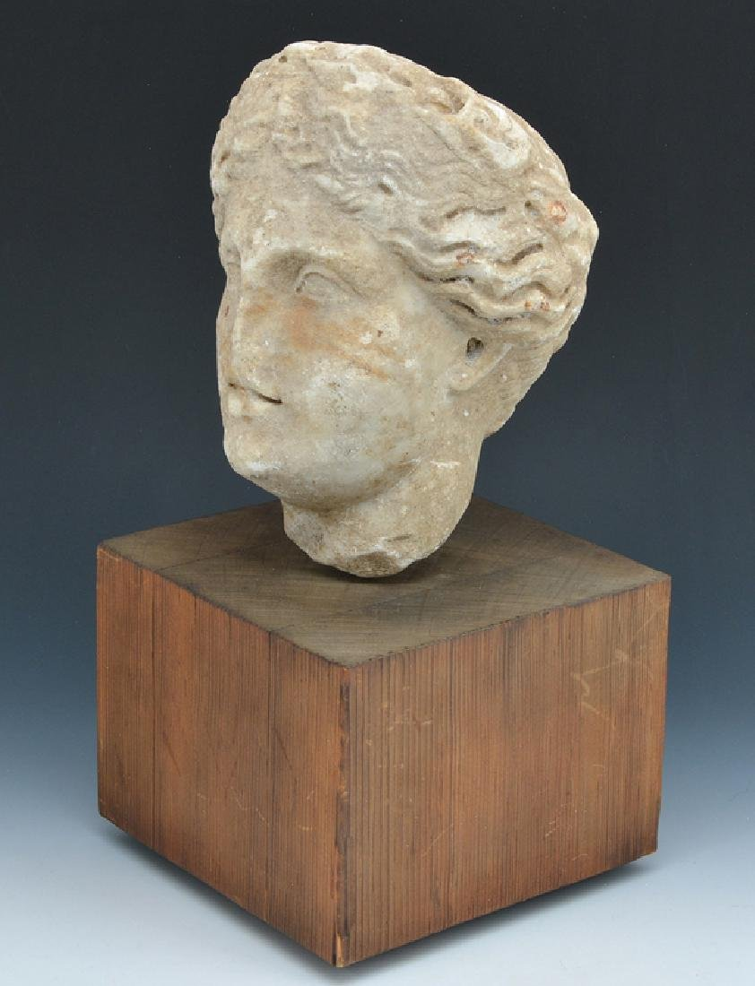 Roman marble fragment of female head on stand - 2