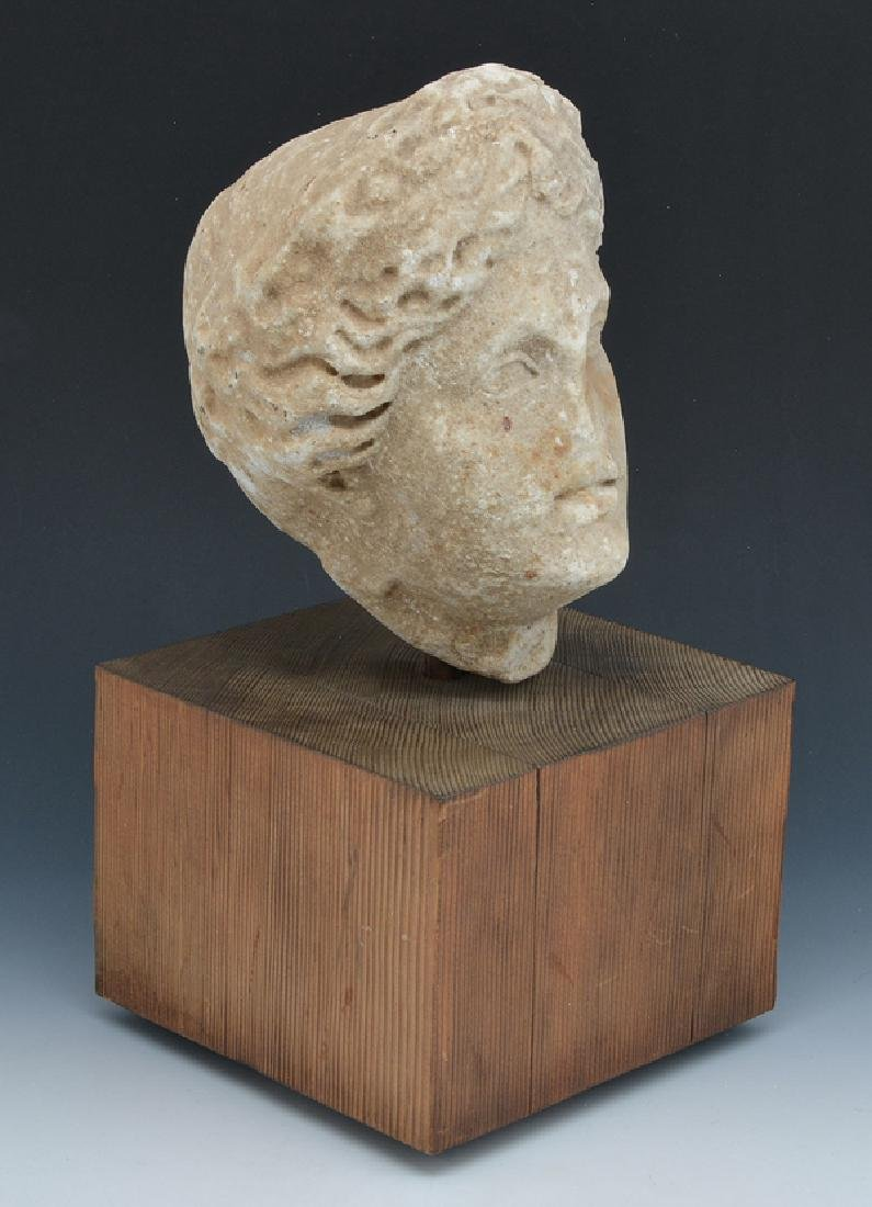 Roman marble fragment of female head on stand - 4