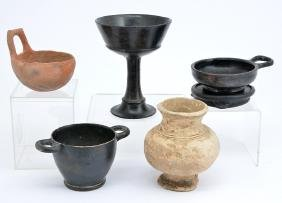 Group of 5 ancient pottery vessels, circa 1000-300 BC.