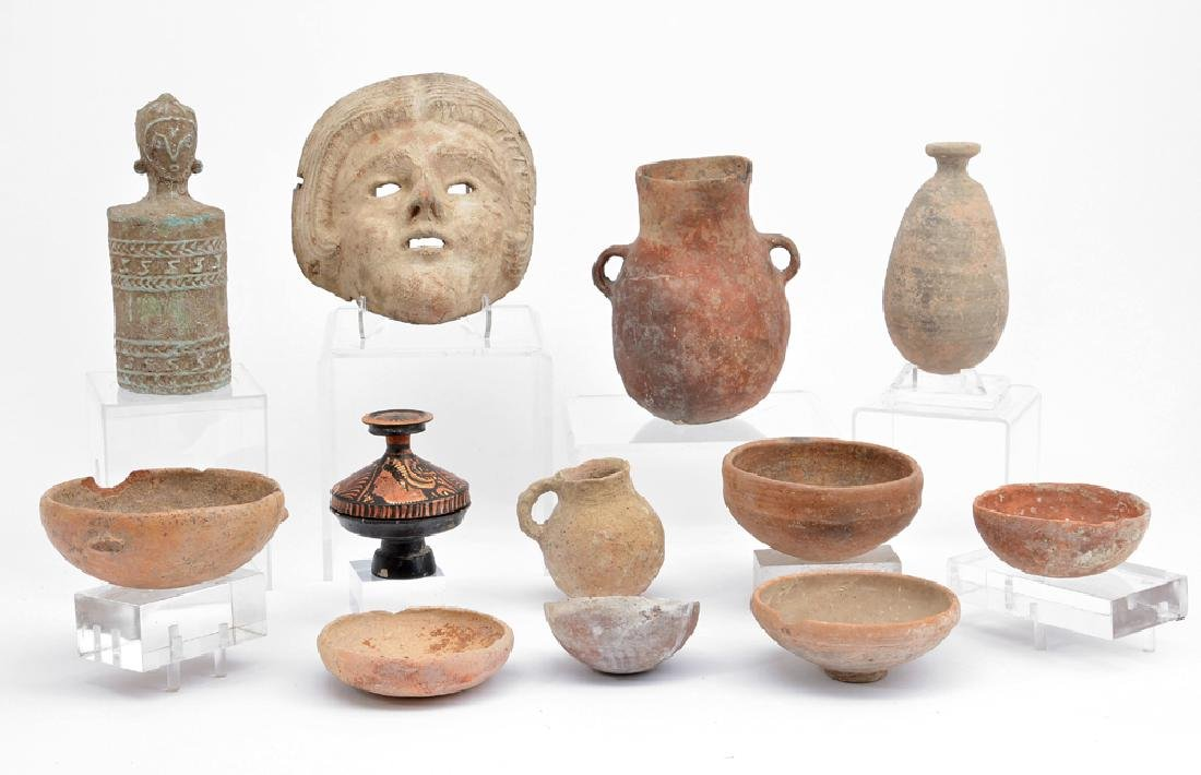 Group of Greek and Cypriot vessels and mask
