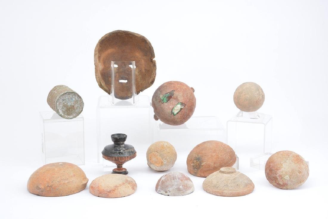 Group of Greek and Cypriot vessels and mask - 2