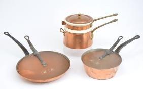 Mondavi monogrammed copper pans