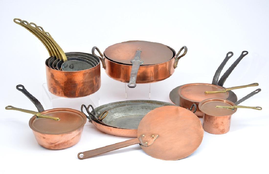 13 French Dehillerin copper pans