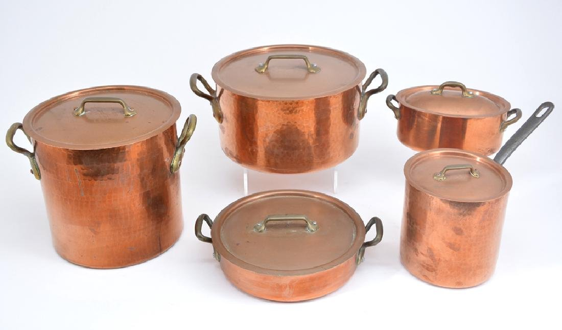6 French copper pots and pans