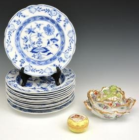 Group of German porcelain, bowls, plates & trinket