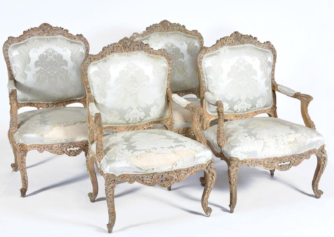 Set of 4 French Louis XVI carved & painted armchairs