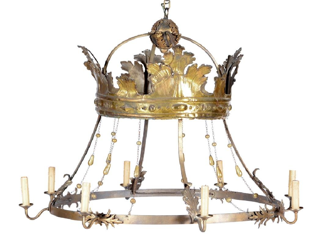 French empire 8 light gilt metal chandelier