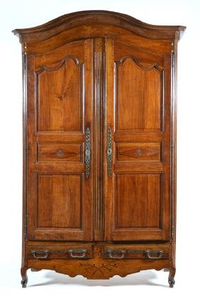 French Provincial walnut wedding armoire, 18th c