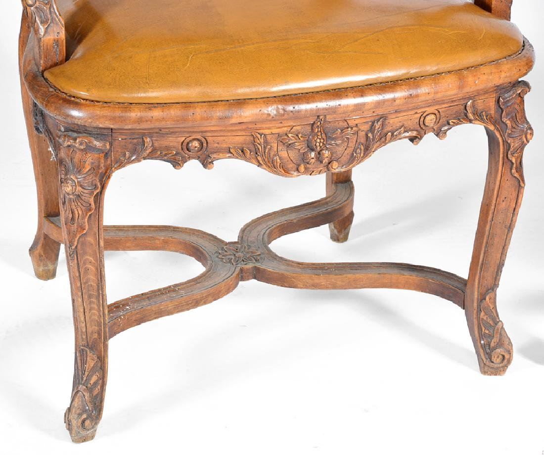 Pair of French walnut armchairs, caned backs,  18th c - 3