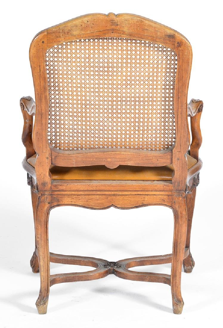 Pair of French walnut armchairs, caned backs,  18th c - 4