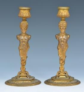 Pair French bronze gilt satyr candlesticks