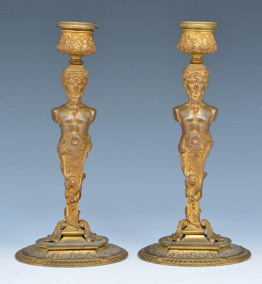 Pair French bronze gilt satyr candlesticks