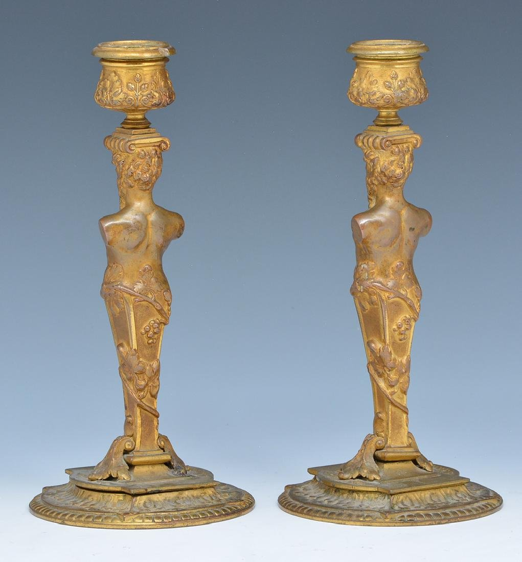 Pair French bronze gilt satyr candlesticks - 2