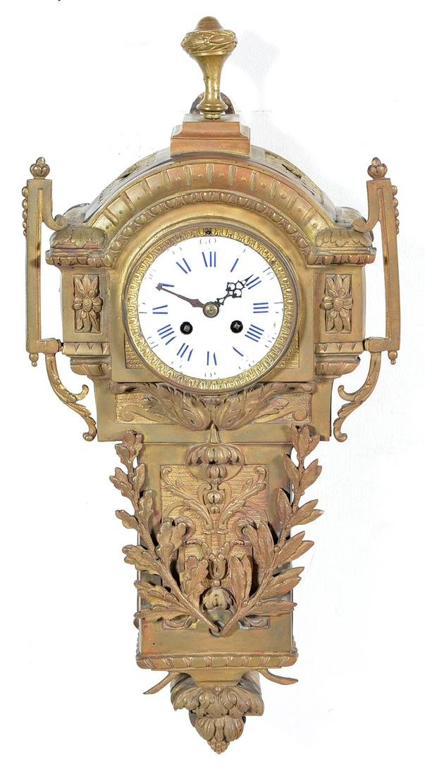 Gilt bronze neoclassical bracket clock