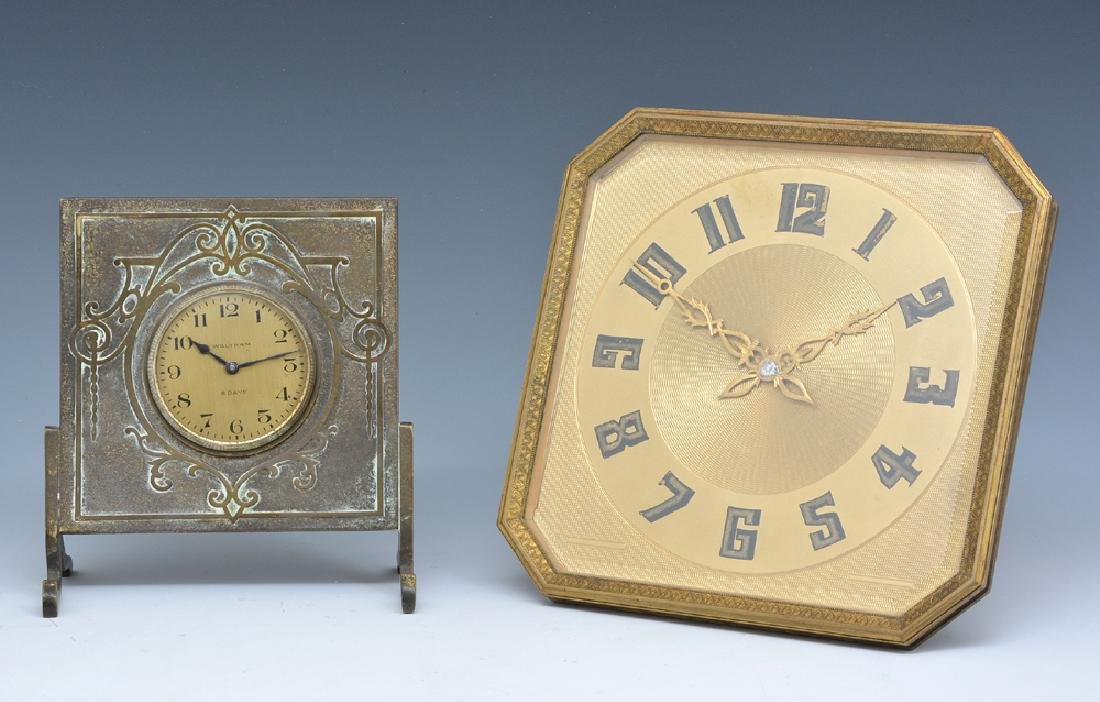 Two table clocks, French bronze and Waltham