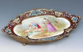 French champleve footed tray with porcelain plaque