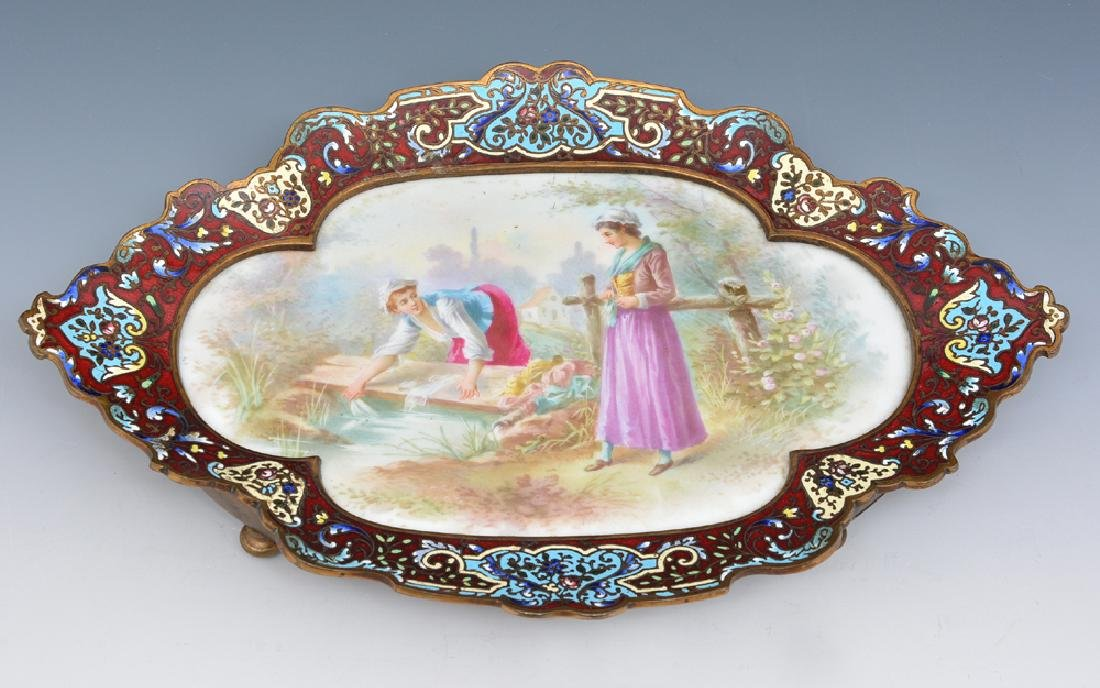 French champleve footed tray with porcelain plaque - 2