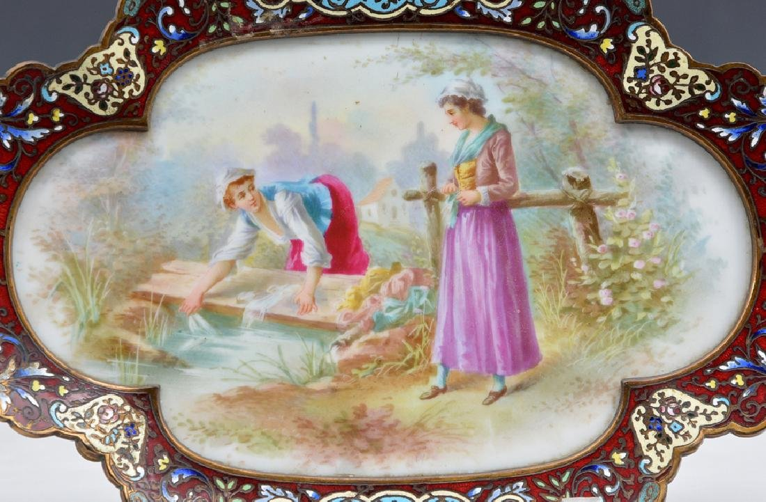 French champleve footed tray with porcelain plaque - 3
