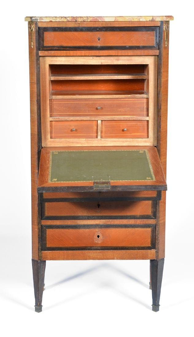 French secretaire abbatant/chest with marble top