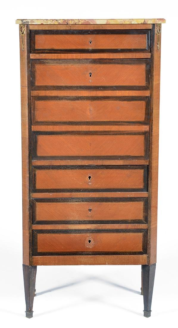 French secretaire abbatant/chest with marble top - 2