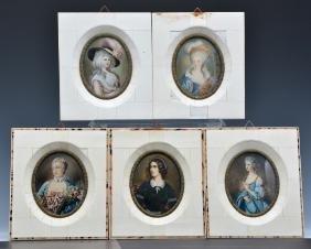 Group of five portrait miniatures of women