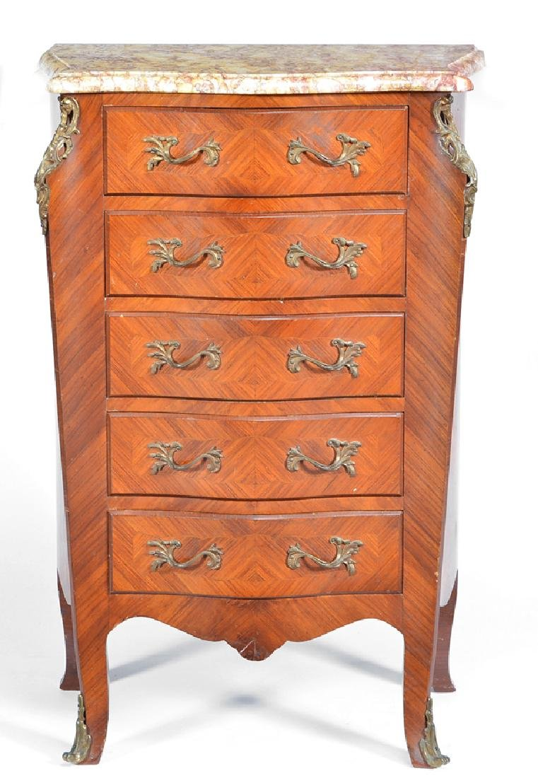 French walnut shaped cabinet, 19th c