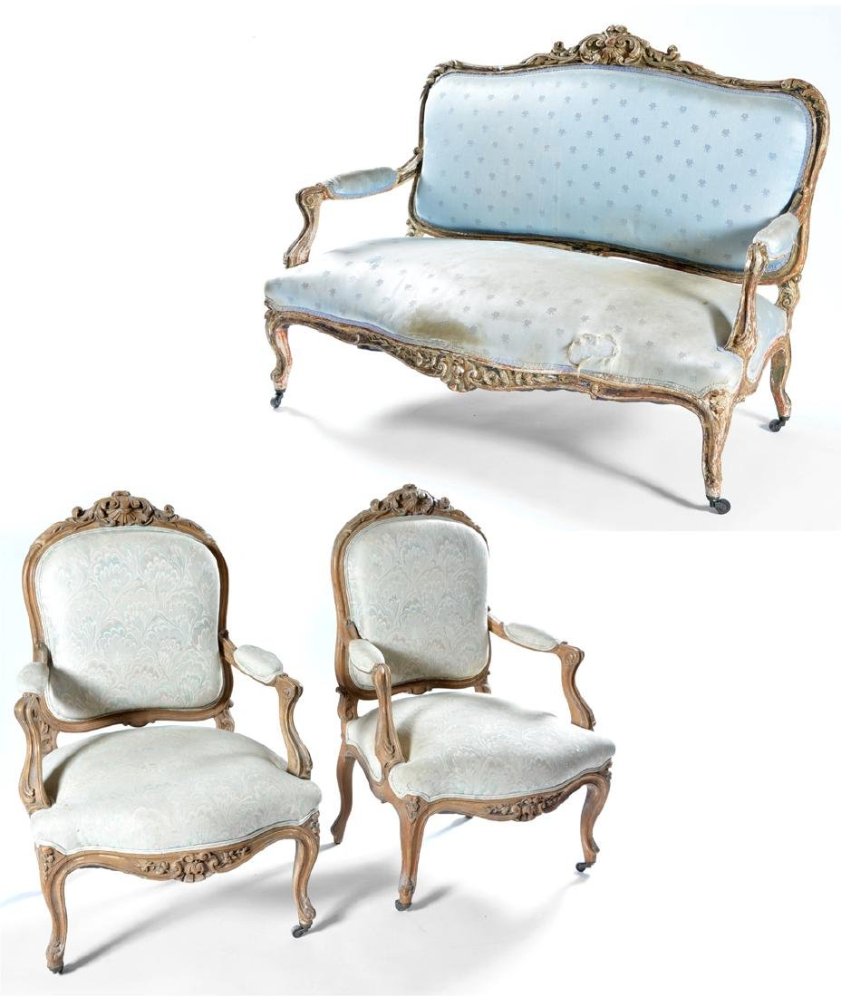 3 Pc suite of Louis XV style furniture, 18th/19th c