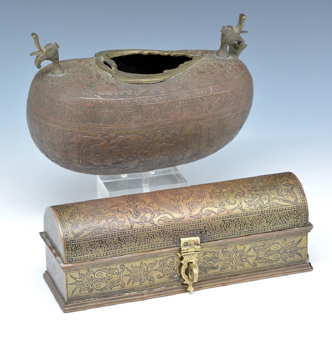 Persian bronze oil vessel and opium box