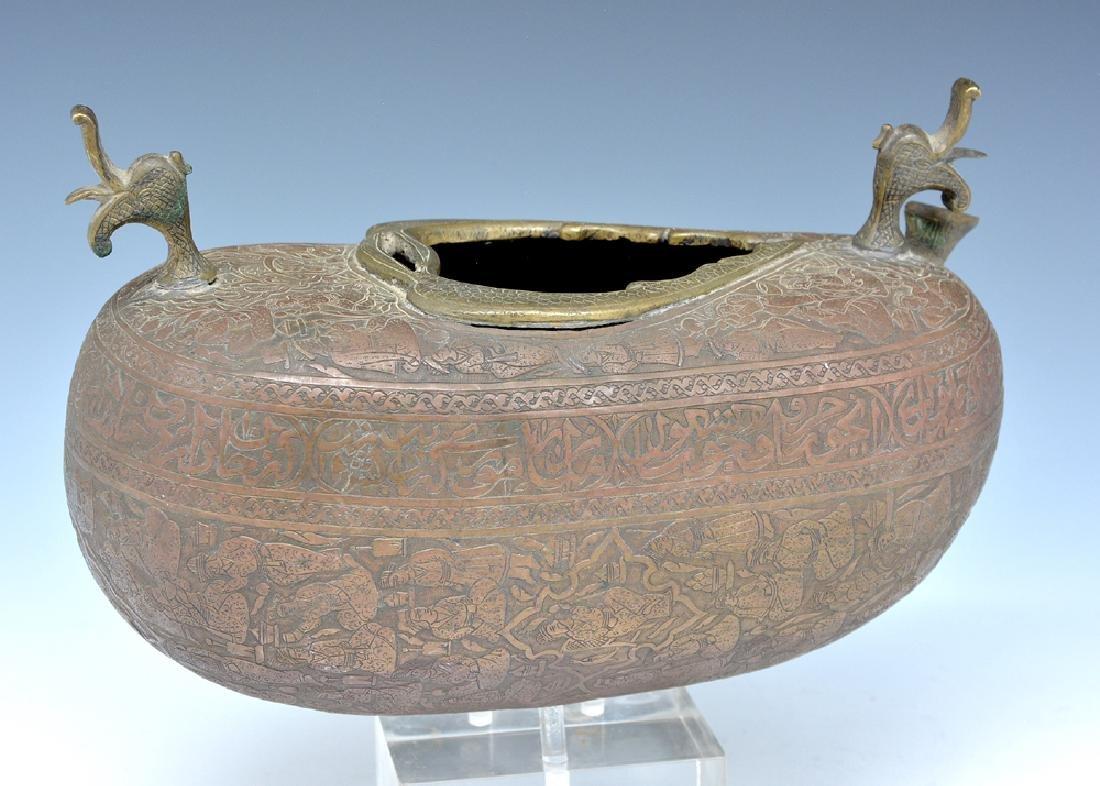 Persian bronze oil vessel and opium box - 2