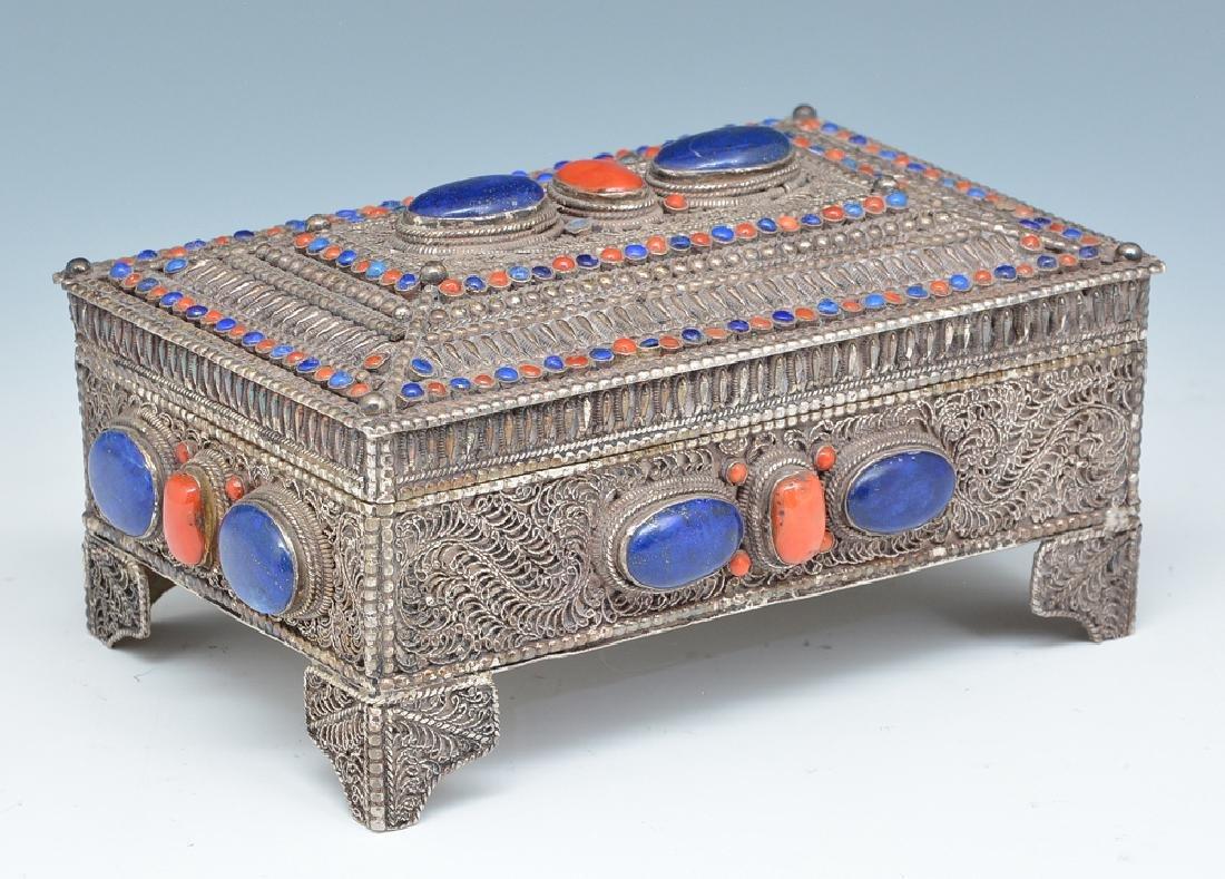 Near eastern silver jewelry box