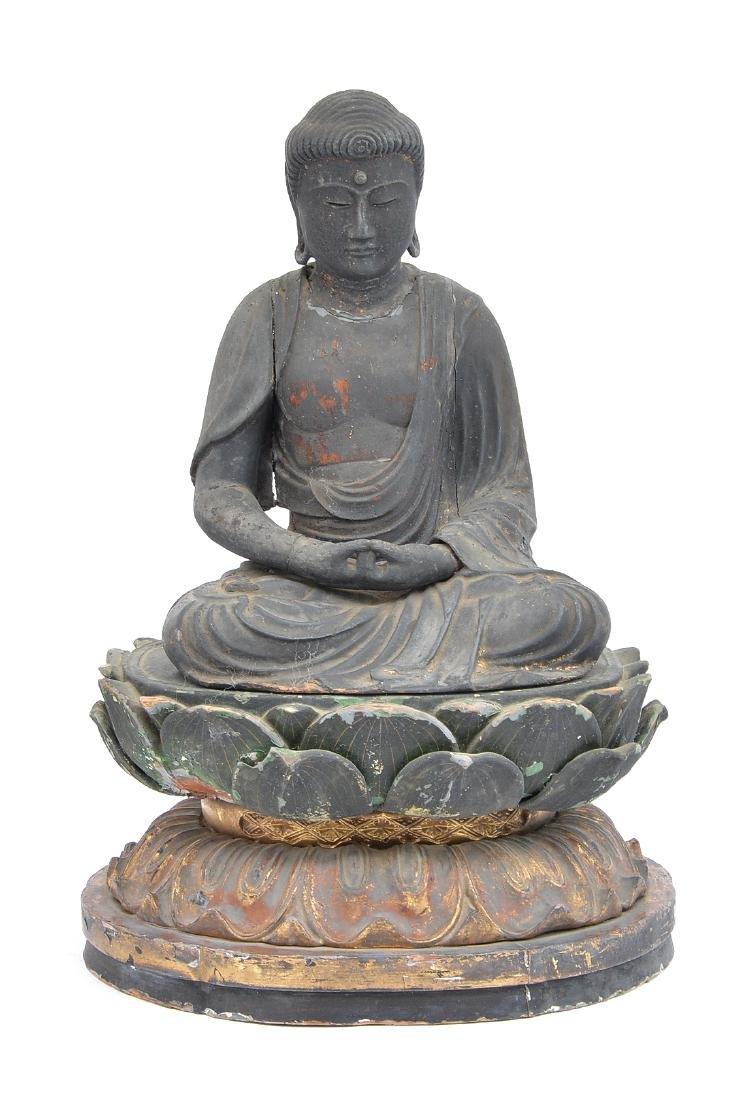 "Carved wood figure. Amitabha Buddha, 17"" tall"
