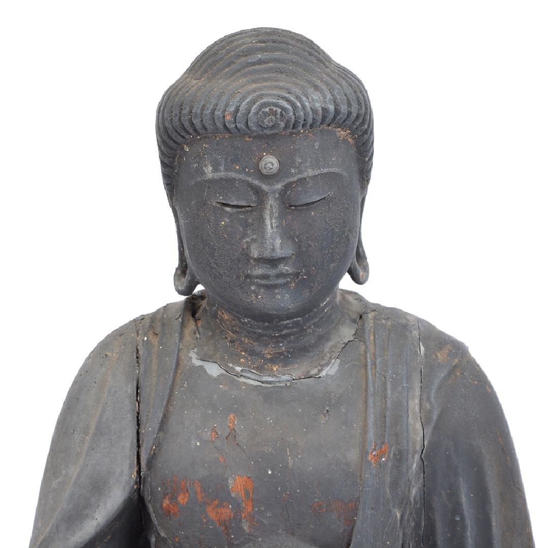 "Carved wood figure. Amitabha Buddha, 17"" tall - 2"