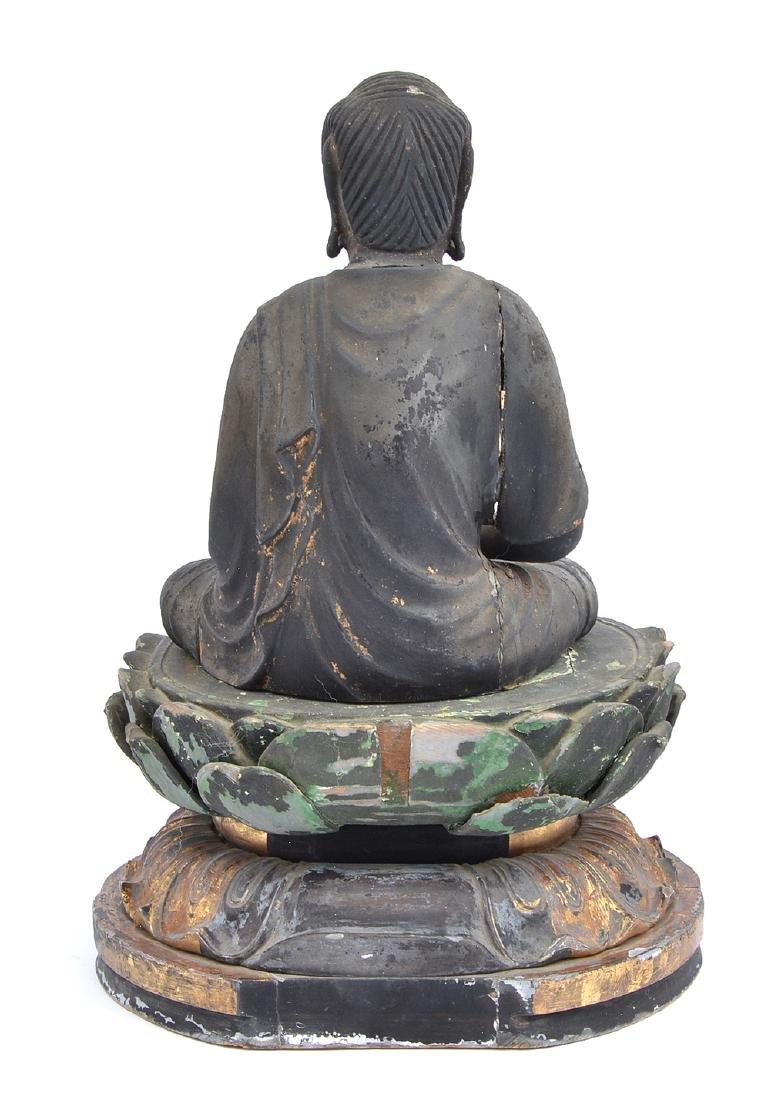 "Carved wood figure. Amitabha Buddha, 17"" tall - 4"