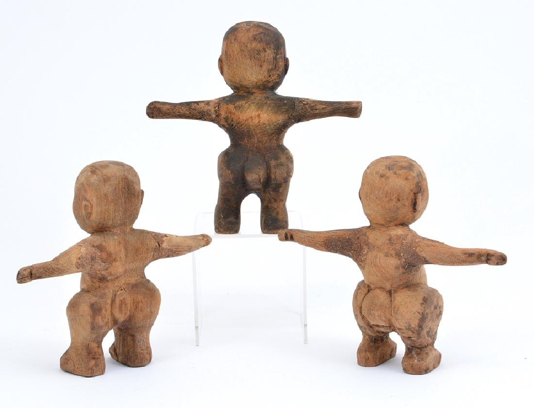 3 Japanese carved wood Sumo figures, 19th c - 2
